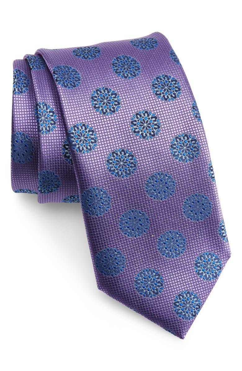 CANALI Medallion Silk Tie, Main, color, PURPLE