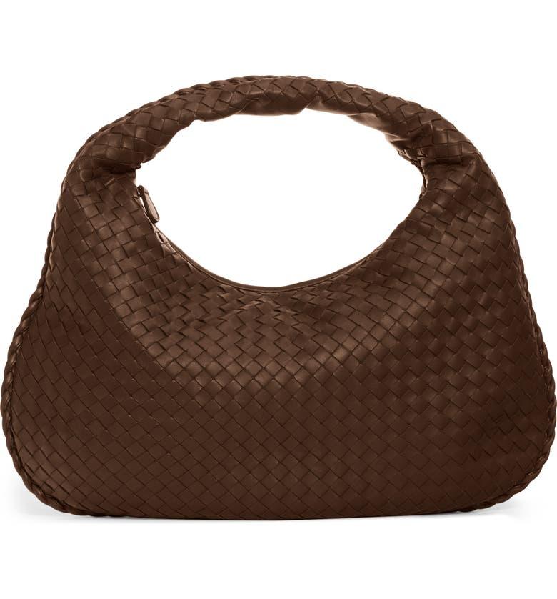 BOTTEGA VENETA Medium Veneta Leather Hobo, Main, color, 2074 ESPRESSO