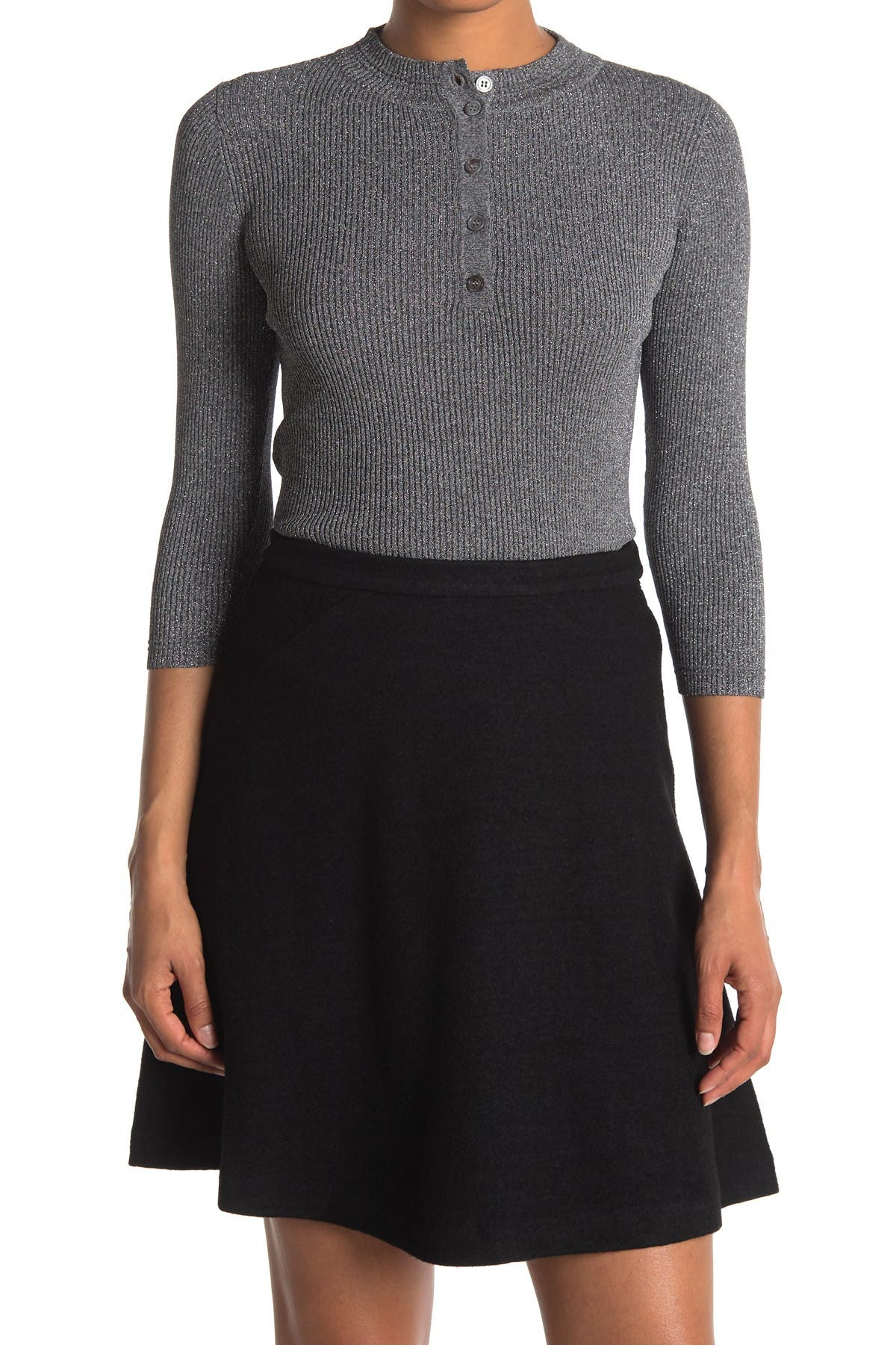 Image of FRNCH Collared 3/4 Sleeve Midi Shift Dress