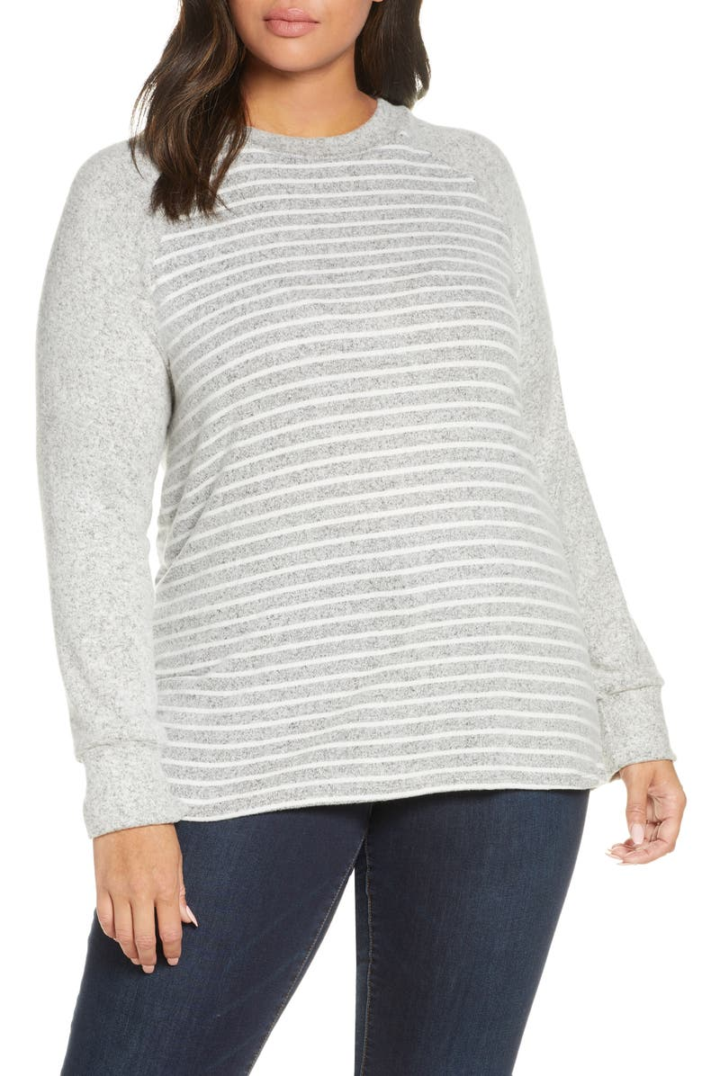 LOVEAPPELLA Raglan Sweater, Main, color, HEATHER GRAY/ IVORY