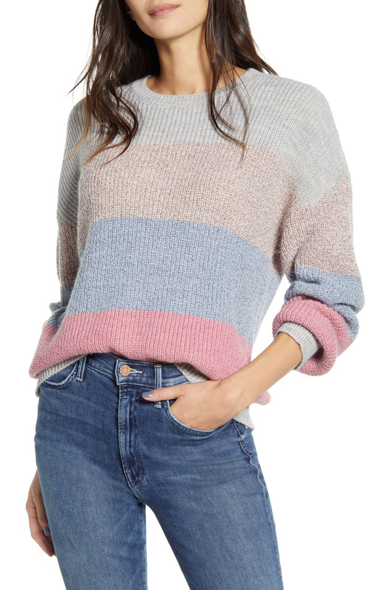 CUPCAKES AND CASHMERE Elaine Stripe Pullover, Main, color, MULTI