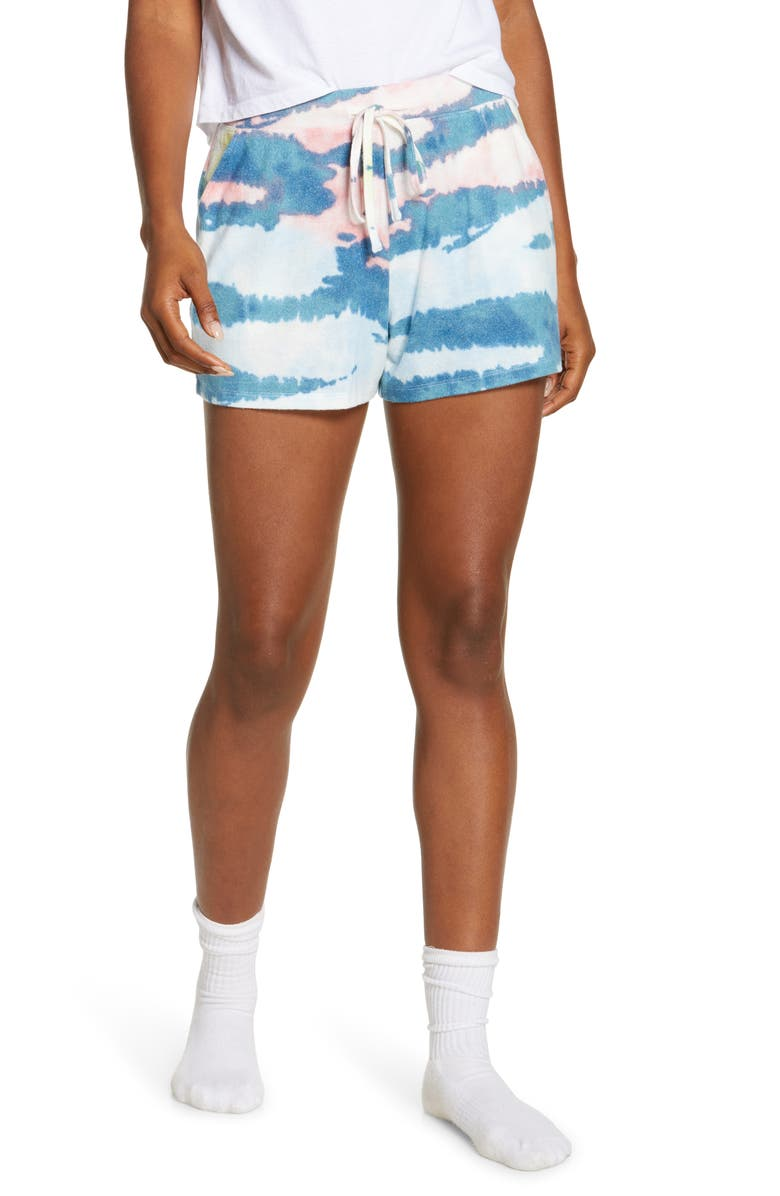 BP. Comfy Shorts, Main, color, TEAL STORM DYE WASH STRIPE