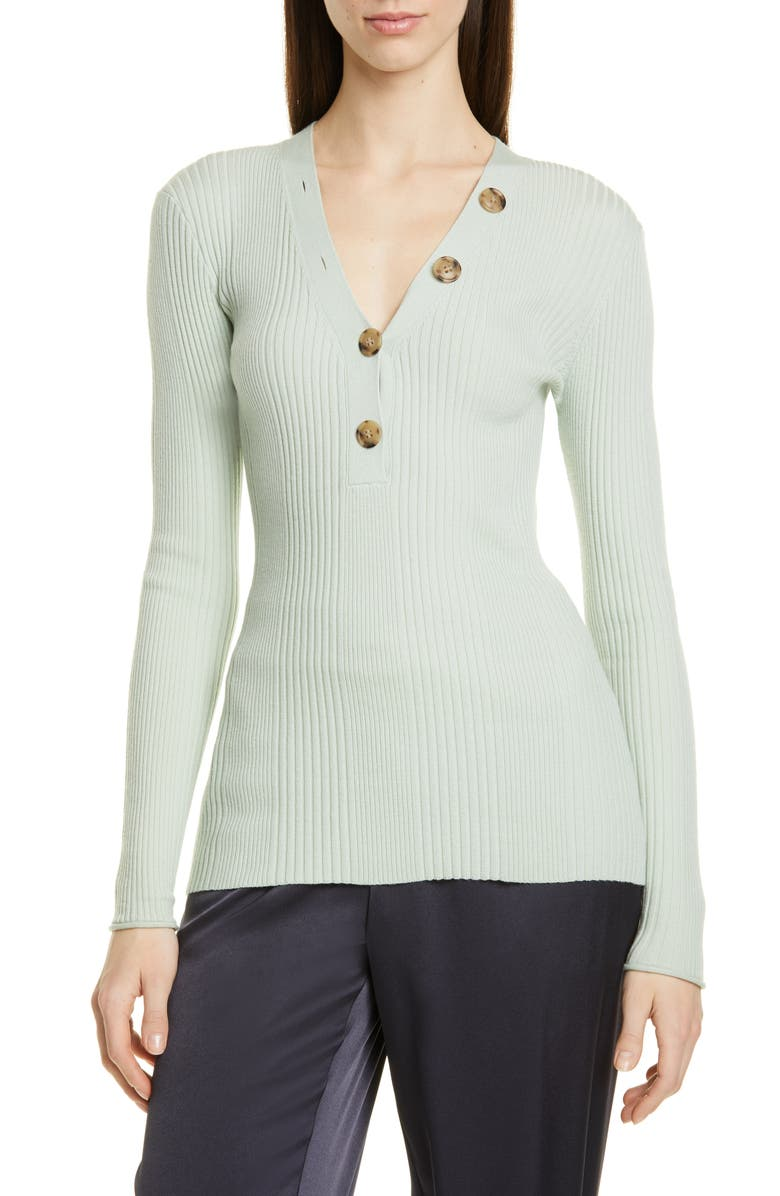 JASON WU Ribbed Button V-Neck Sweater, Main, color, JULEP