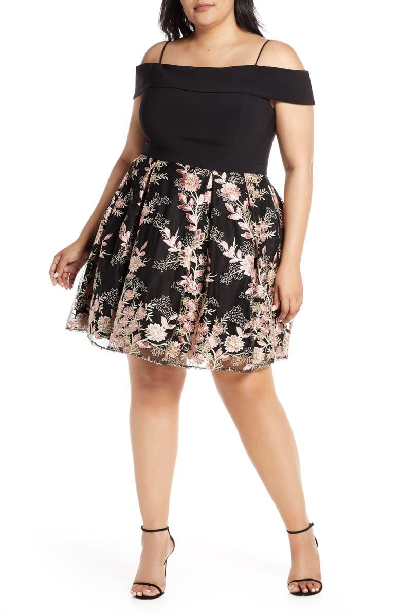 Morgan & Co. Cold Shoulder Prom Dress (Plus Size) | Nordstrom
