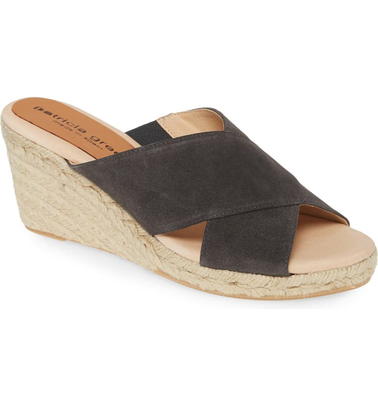 PATRICIA GREEN Annabelle Espadrille Wedge Slide Sandal, Main, color, CHARCOAL SUEDE
