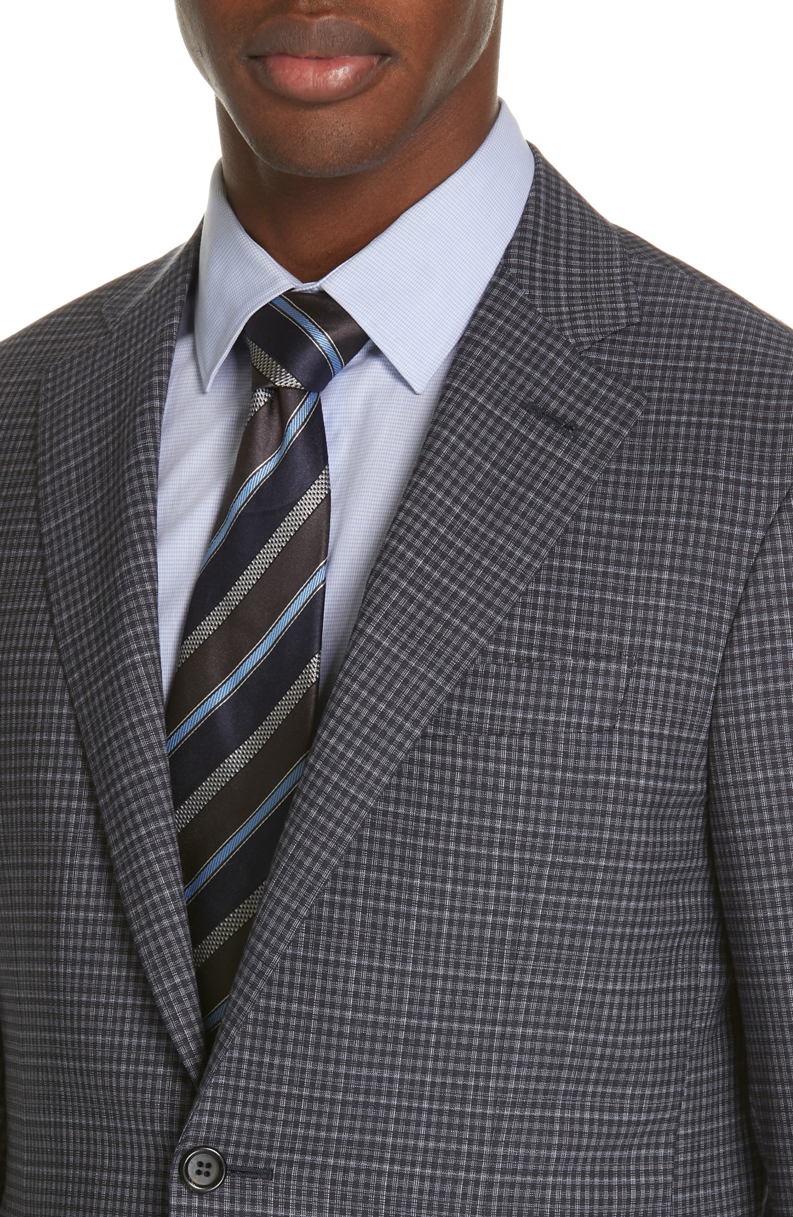 ,                             Milano Trim Fit Check Wool Suit,                             Alternate thumbnail 4, color,                             CHARCOAL