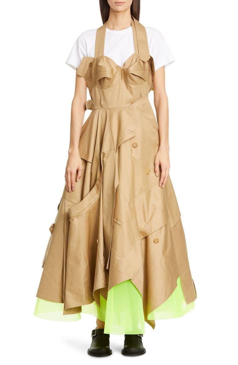 JUNYA WATANABE Utility Trench Halter Maxi Dress, Main, color, BEIGE