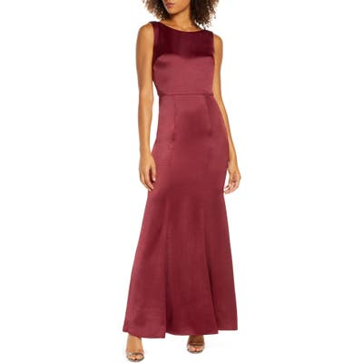 Chi Chi London Lottie Lace Back Satin Trumpet Gown, Burgundy