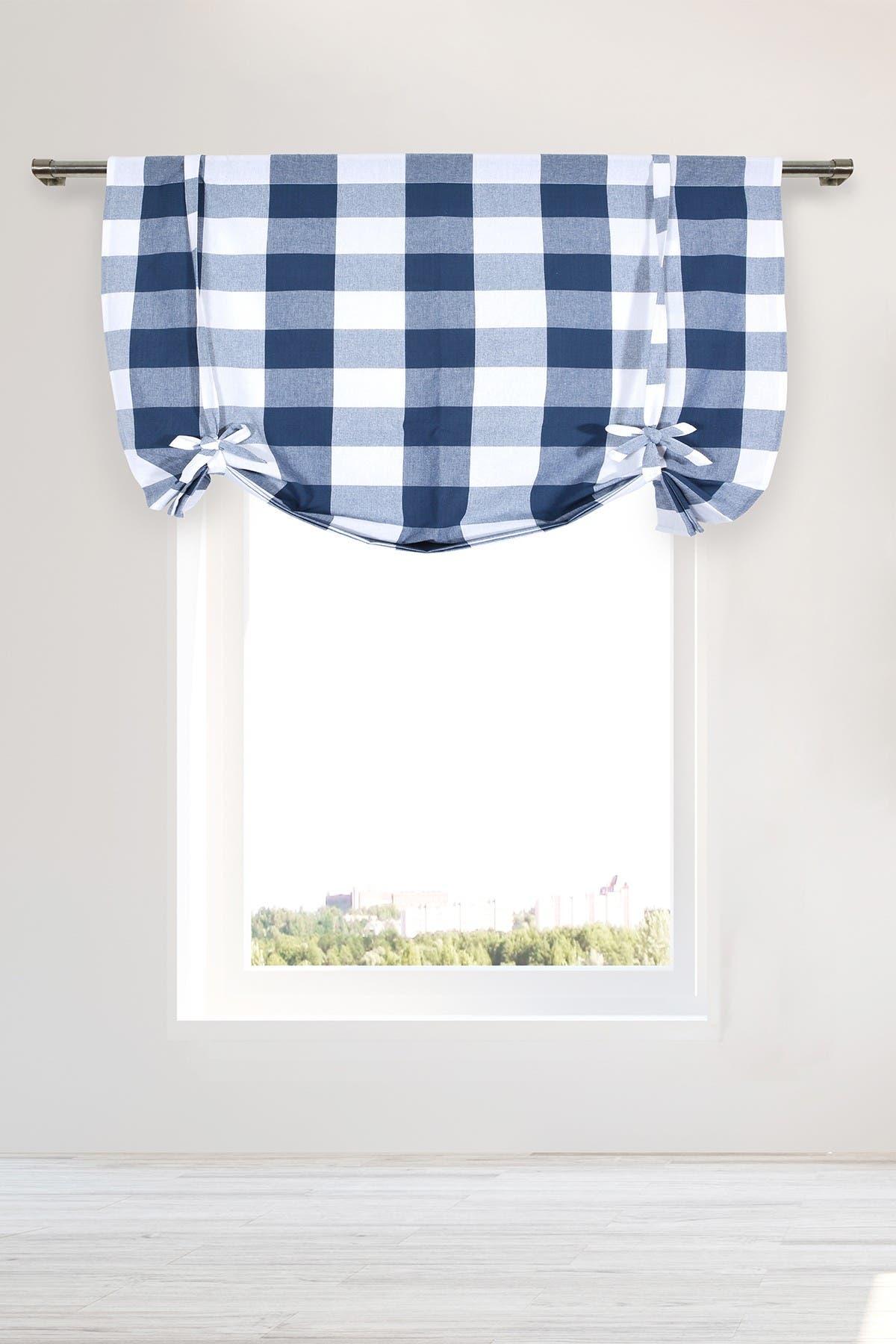 Duck River Textile Kingston Buffalo Check Tie Up Curtain Navy Hautelook