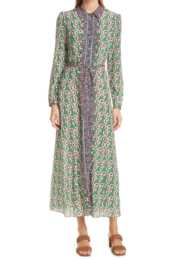 Saloni Midi dresses VANESSA B PRINT SILK LONG SLEEVE SHIRTDRESS