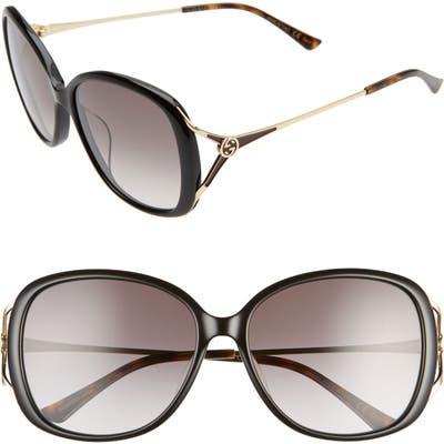 Gucci 5m Round Sunglasses - Black/ Grey