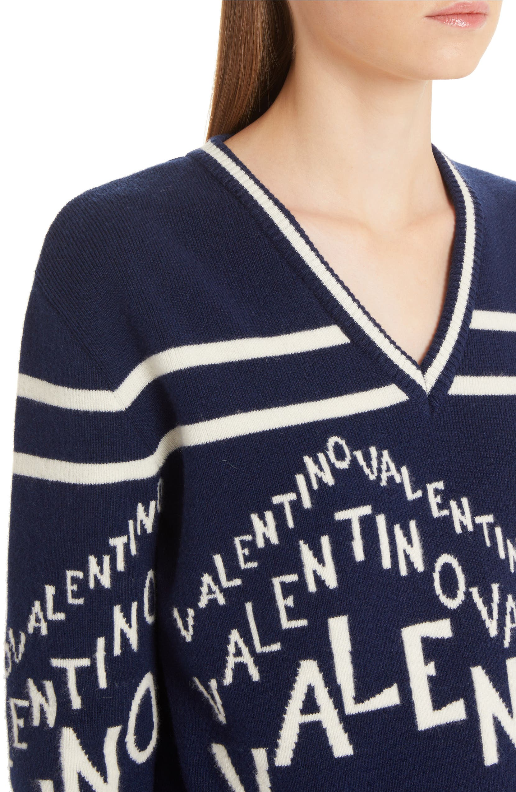 77738ab2ae9cbc Valentino Chevron Logo Wool & Cashmere Sweater | Nordstrom