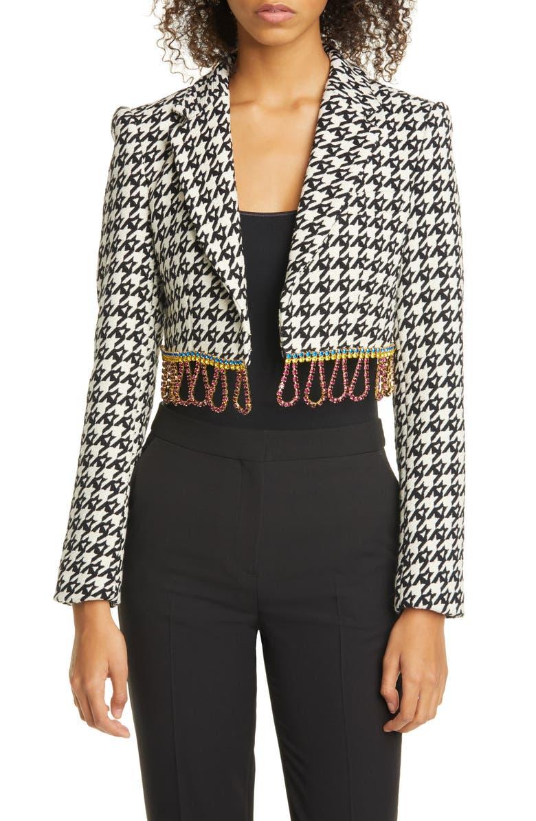 AREA Crystal Fringe Houndstooth Wool Blend Bolero Jacket, Main, color, BLACK / ECRU