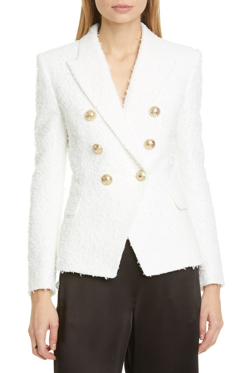 BALMAIN Double Breasted Tweed Jacket, Main, color, BLANC