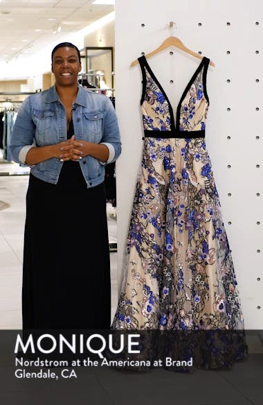 Plunging V-Neck Floral Sequin Prom Dress, sales video thumbnail