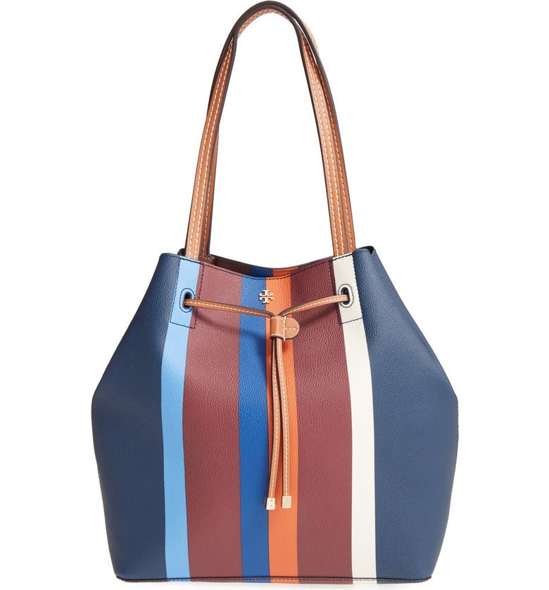 TORY BURCH 'Kerrington' Stripe Faux Leather Tote, Main, color, 466