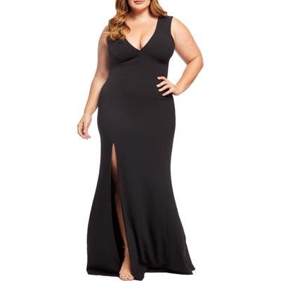 Plus Size Dress The Population Sandra Plunge Gown