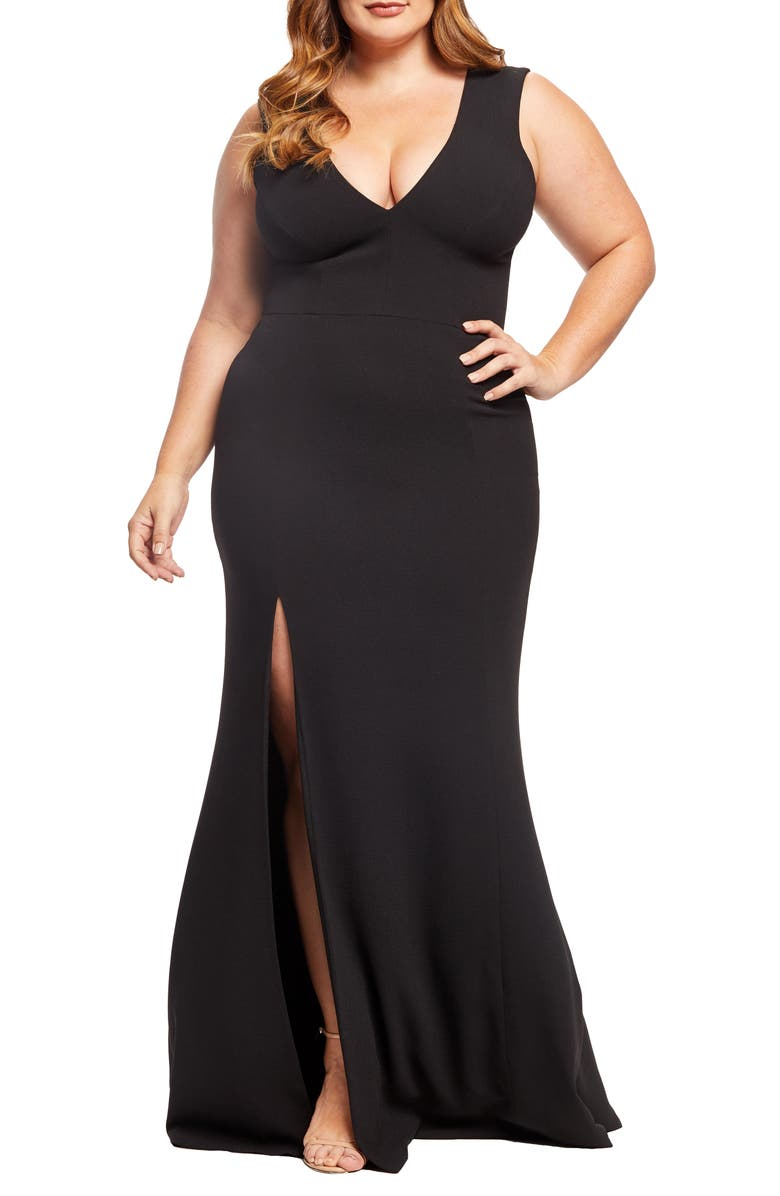 DRESS THE POPULATION Sandra Plunge Gown, Main, color, BLACK