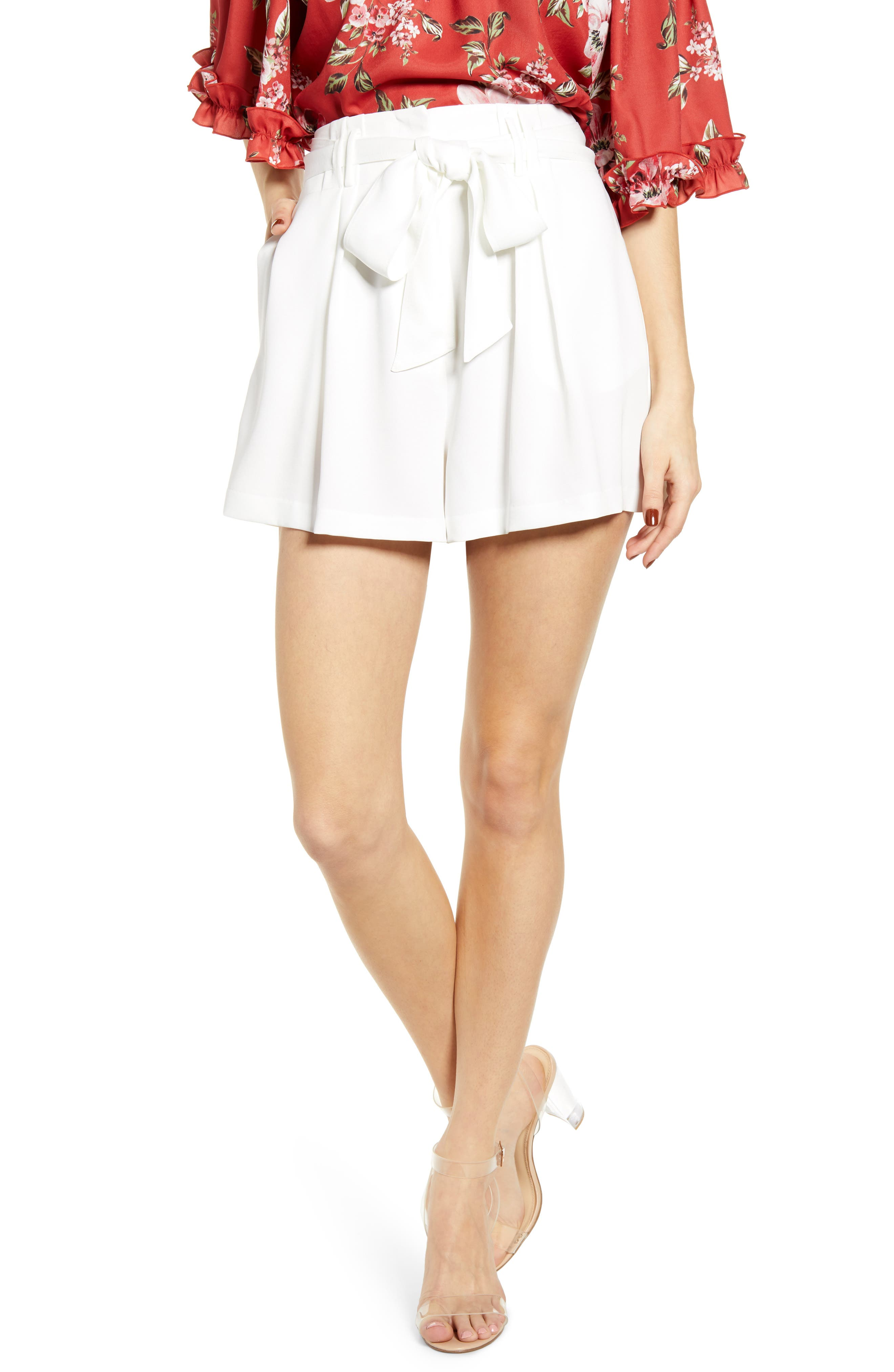 Vintage Shorts, Culottes,  Capris History Womens Wayf Pleated Tie Waist Shorts $79.00 AT vintagedancer.com