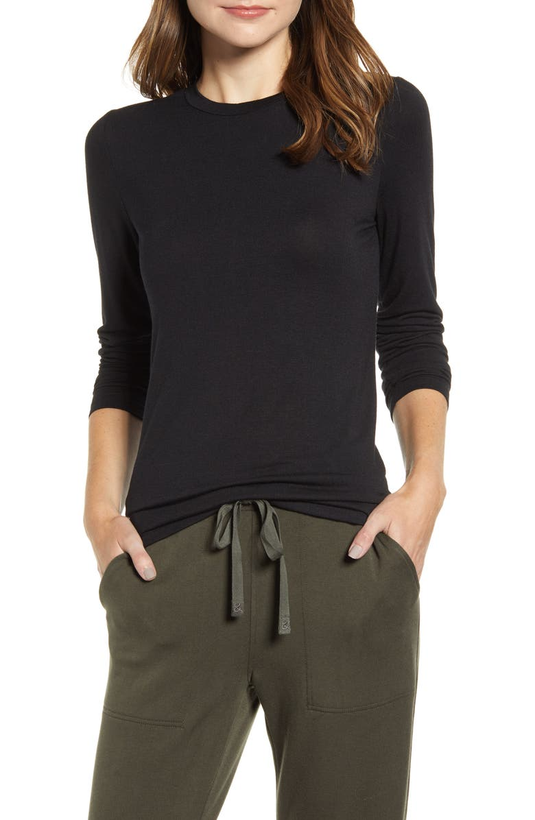 LOU & GREY Softened Jersey Layering Tee, Main, color, 001