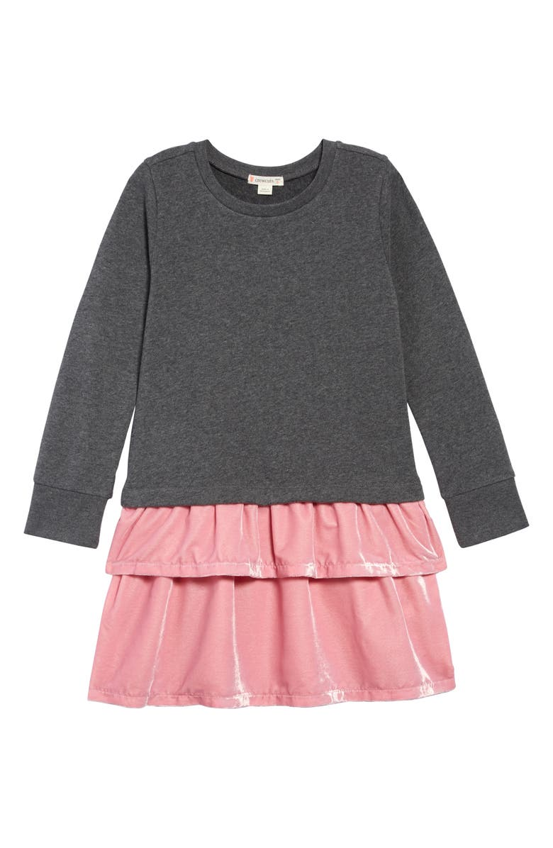 CREWCUTS BY J.CREW Velvet Mixy Dress, Main, color, HEATHER