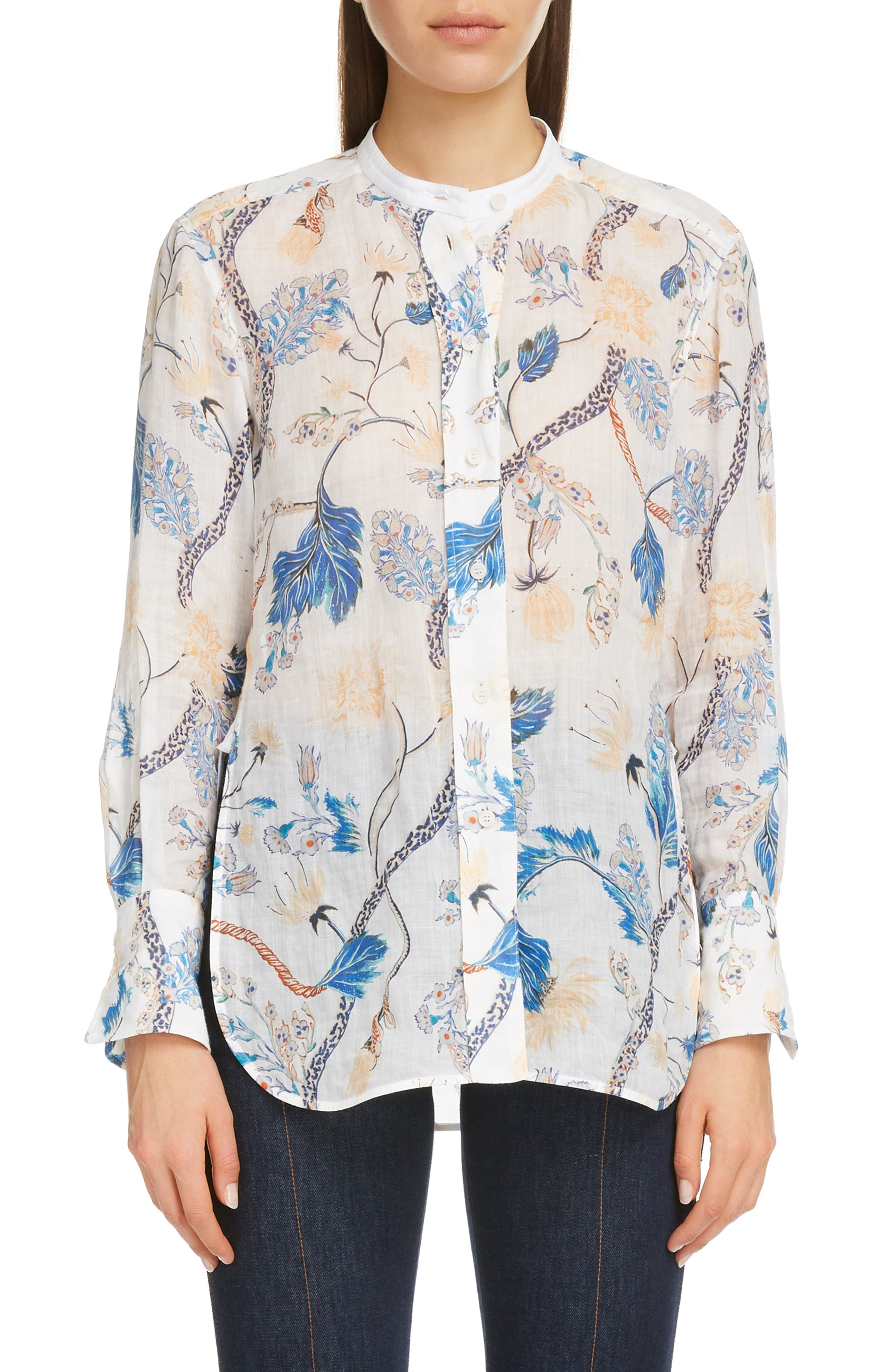 Image of Chloe Floral Print Band Collar Blouse