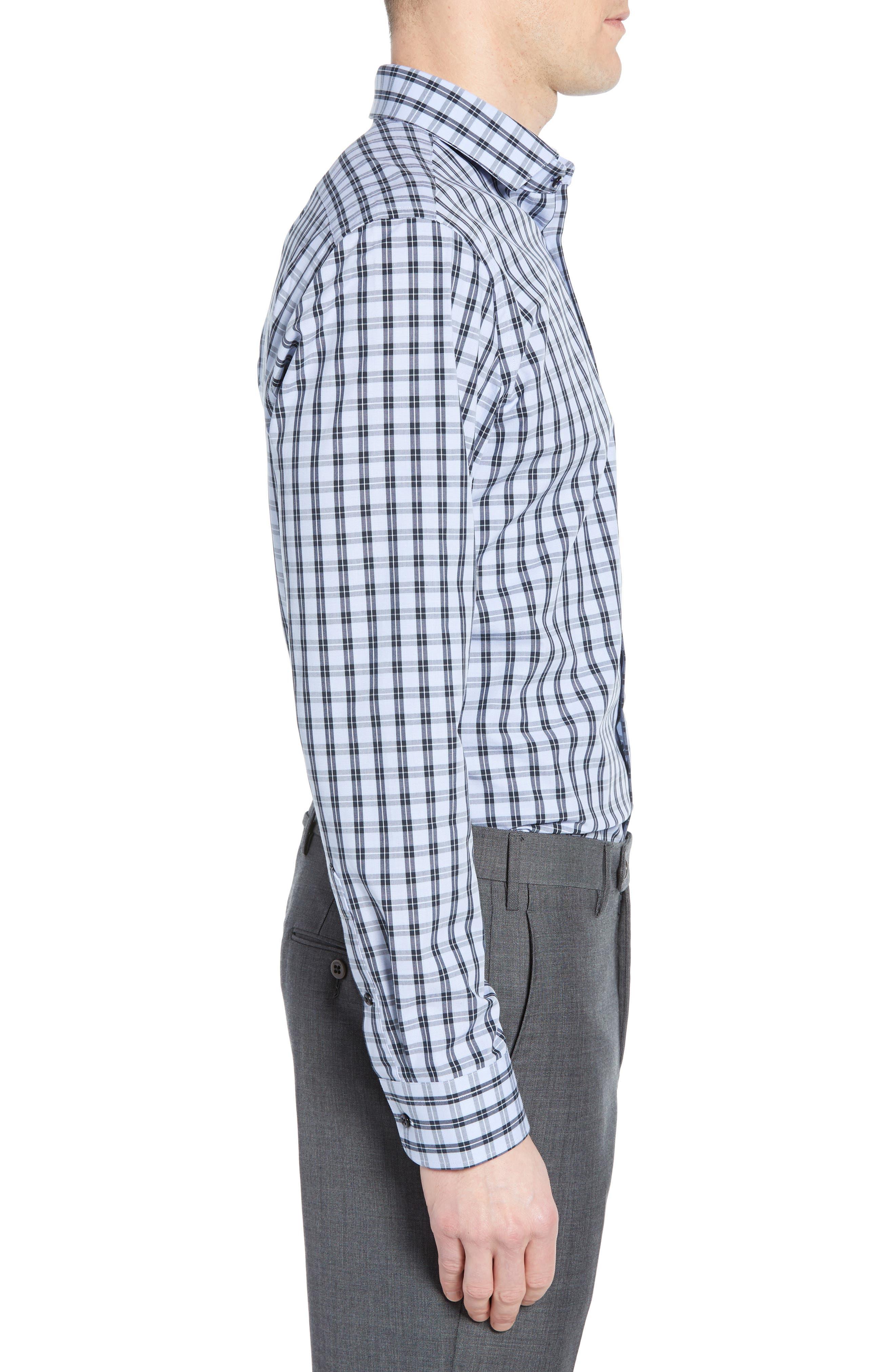 ,                             Tech-Smart Trim Fit Stretch Check Dress Shirt,                             Alternate thumbnail 4, color,                             NAVY DUSK