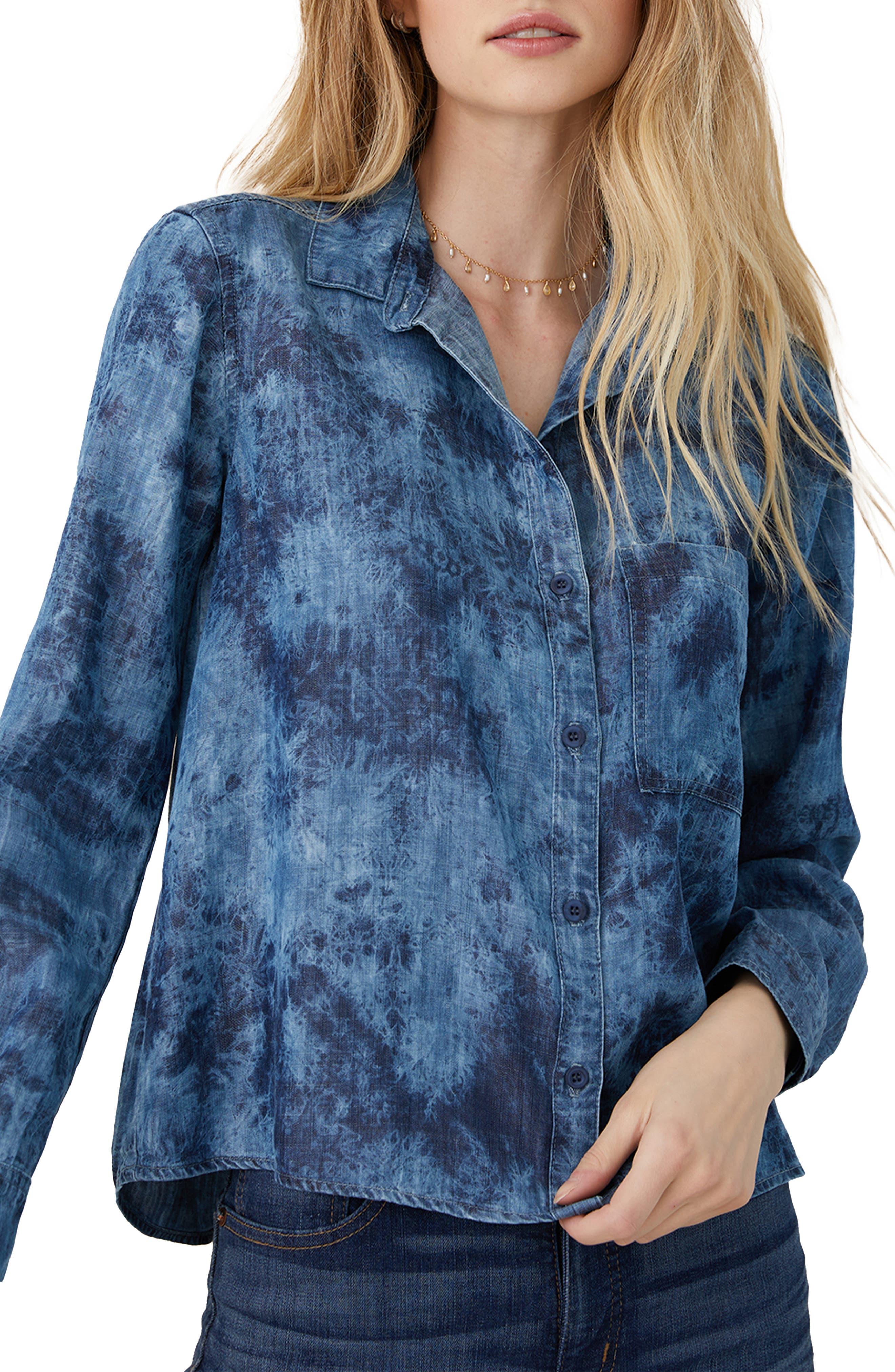Tie Dye Boxy Button-Up Shirt