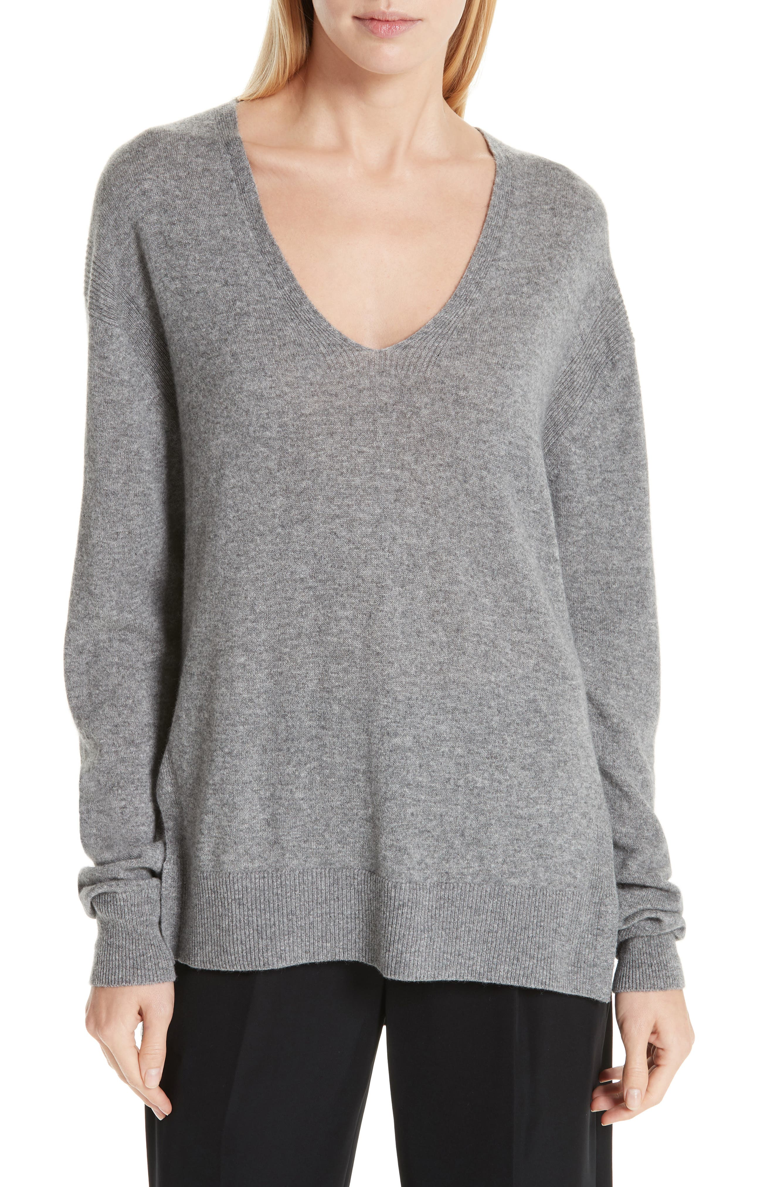 ,                             Wool & Cashmere V-Neck Sweater,                             Main thumbnail 1, color,                             062