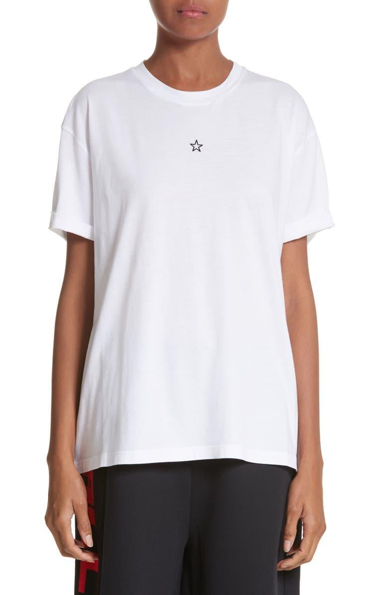 STELLA MCCARTNEY Ministar Logo Cotton Tee, Main, color, PURE WHITE