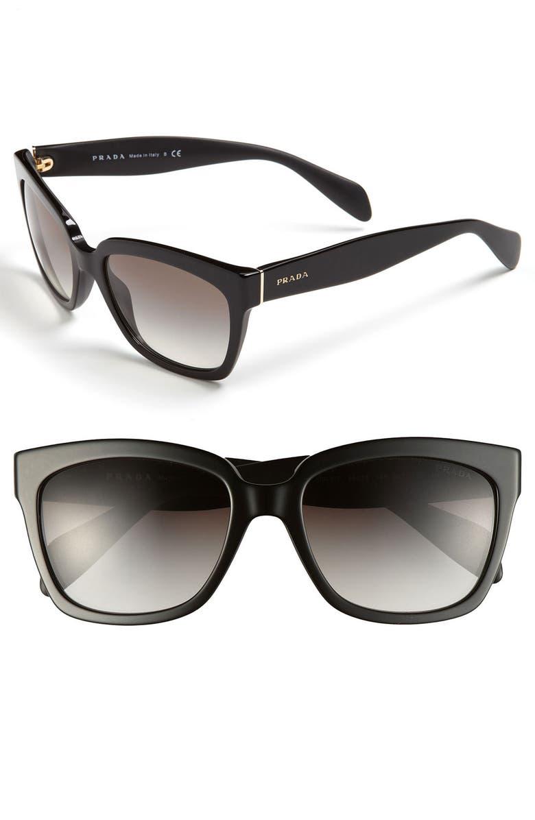 PRADA Timeless 56mm Square Sunglasses, Main, color, 001