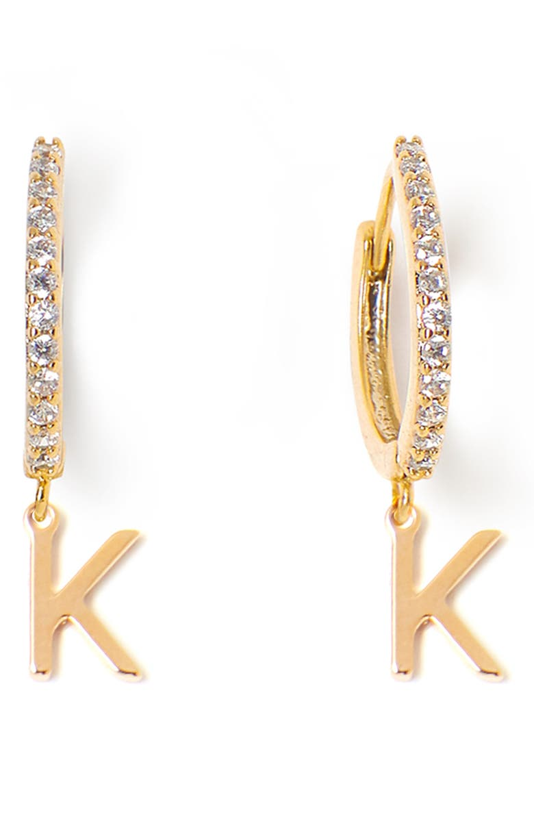 TESS + TRICIA Initial Huggie Hoop Earrings, Main, color, GOLD K
