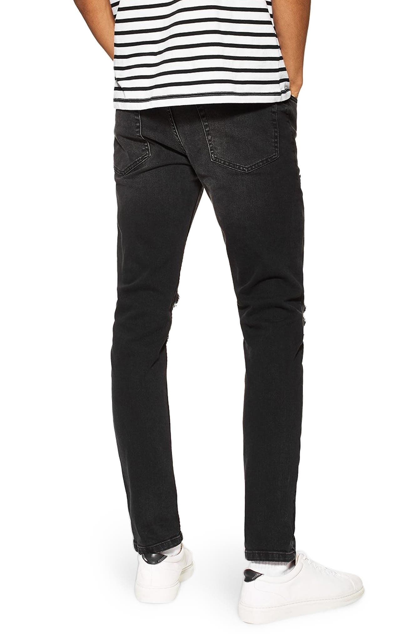 ,                             Ripped Skinny Fit Jeans,                             Alternate thumbnail 2, color,                             WASHED BLACK
