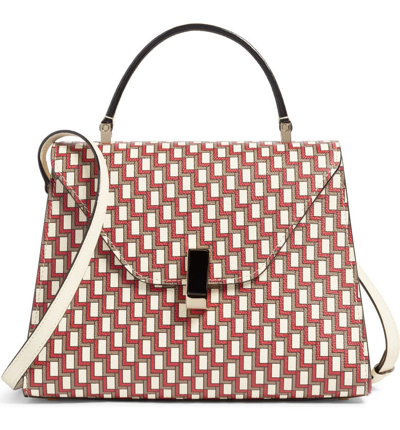 VALEXTRA Iside Monogram Leather Top Handle Bag, Main, color, PERGAMENA/ ROSSO/ OYSTER