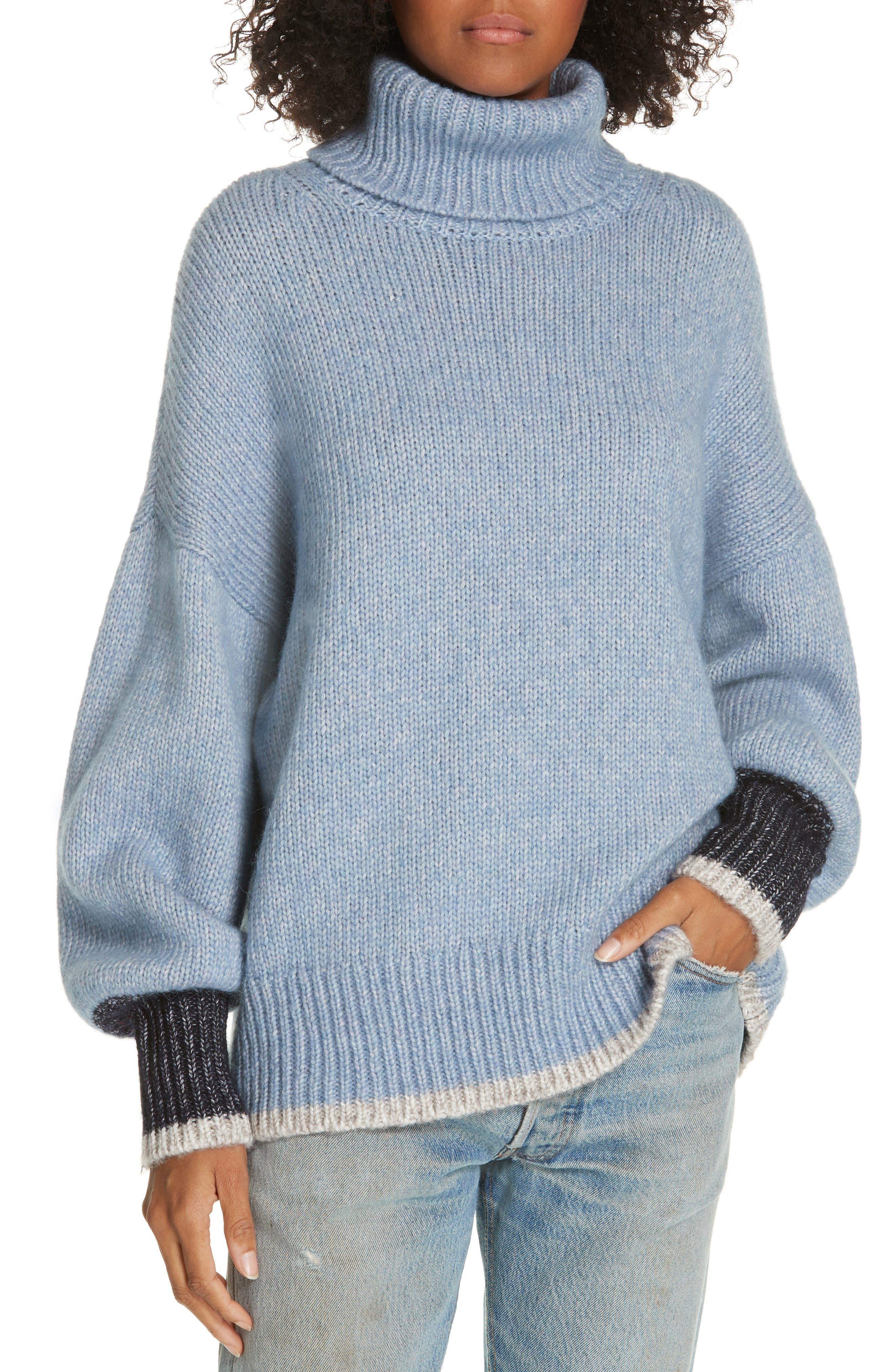 ,                             Oversize Turtleneck Sweater,                             Main thumbnail 1, color,                             LIGHT BLUE/ CREAM/ NAVY