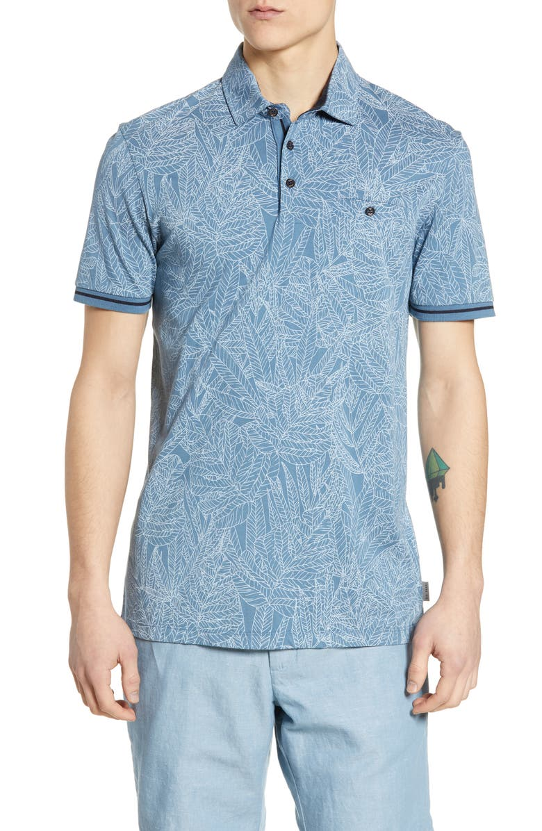 TED BAKER LONDON Vaness Slim Fit Leaf Polo, Main, color, MID-BLUE