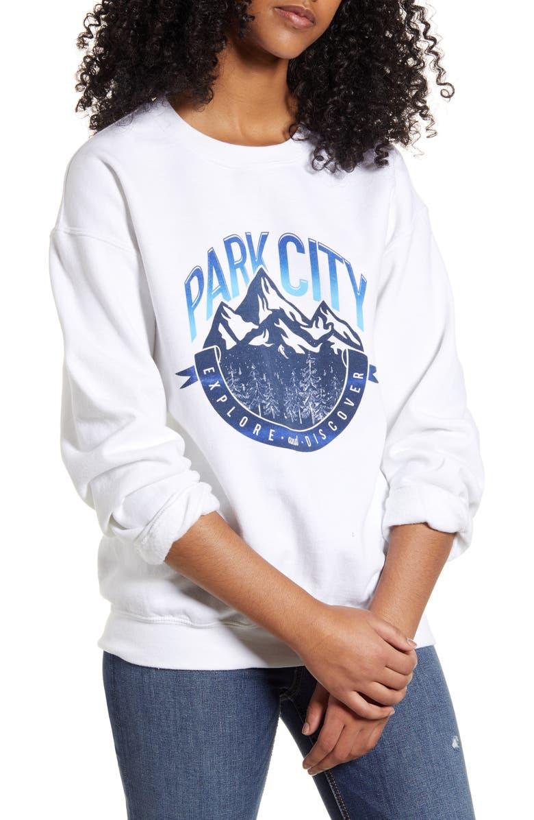 NEEMA CALIFORNIA Zane Park City Graphic Sweatshirt, Main, color, WHITE