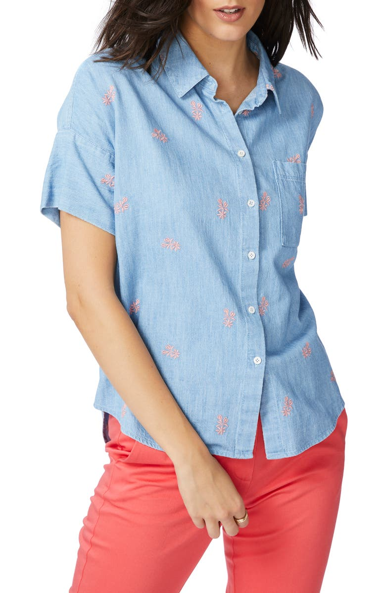 COURT & ROWE Embroidered Short Sleeve Cotton Chambray Shirt, Main, color, ROMEO BLUE