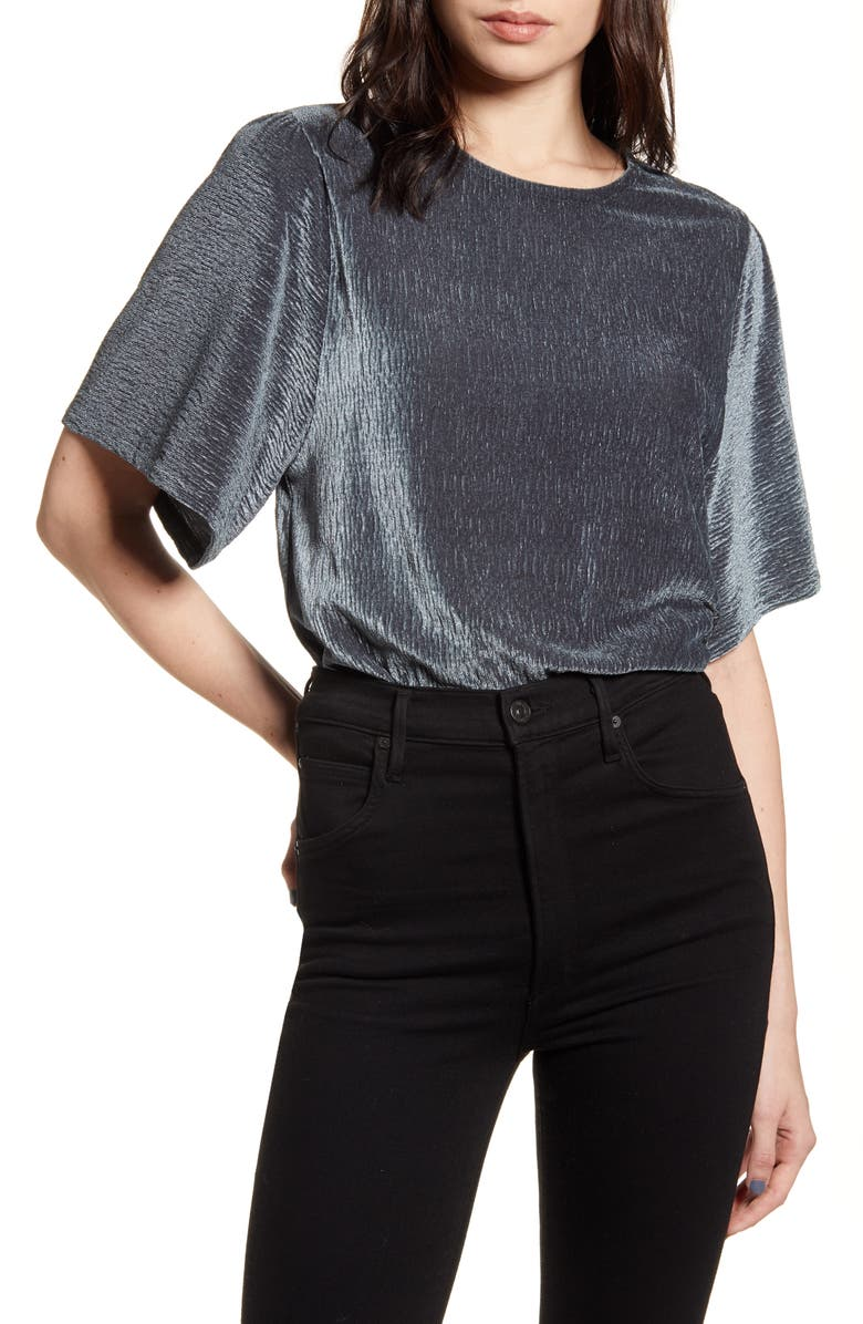 MADEWELL Crinkle Velvet Flutter Sleeve Top, Main, color, DARK METAL