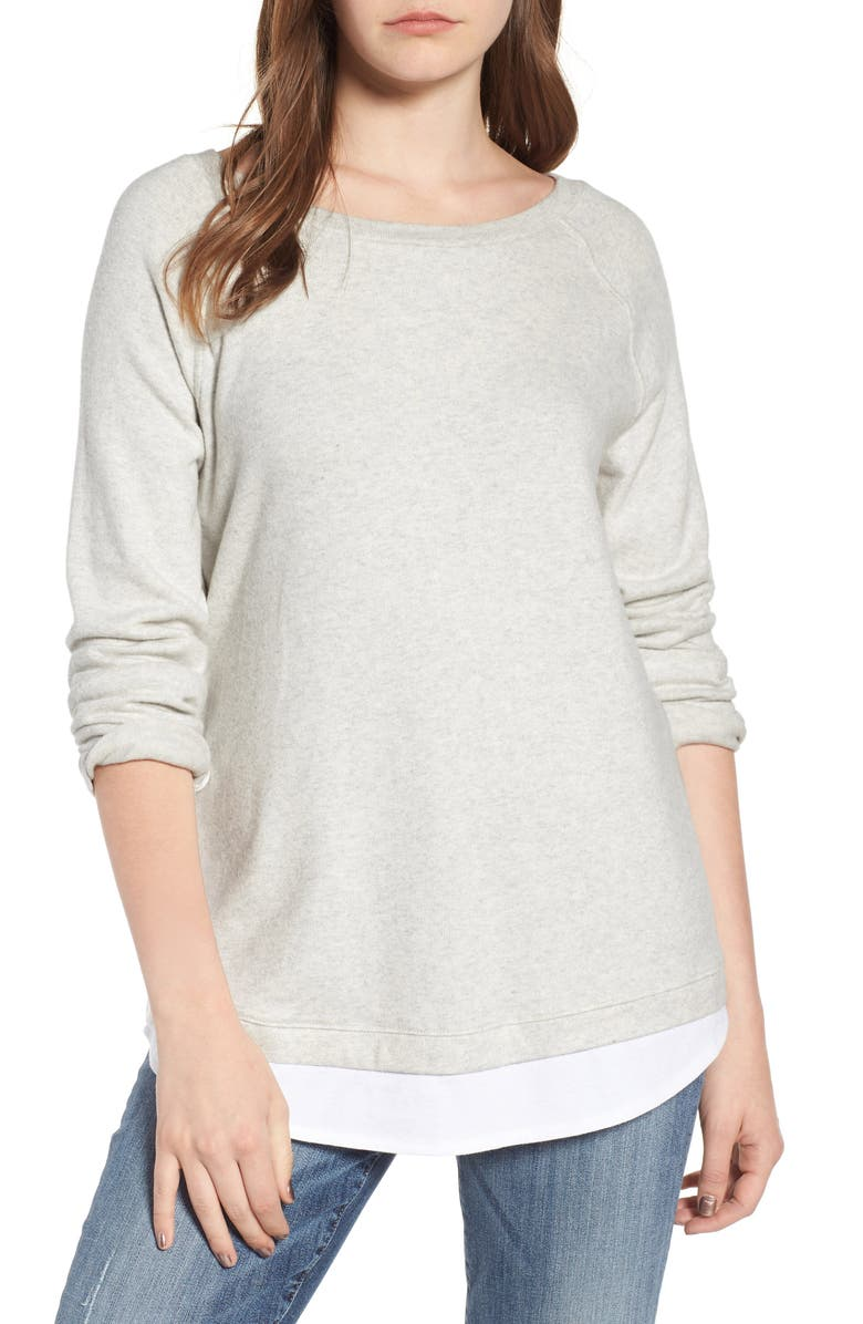 CASLON<SUP>®</SUP> Button Back Layered Look Sweatshirt, Main, color, GREY LH- WHITE