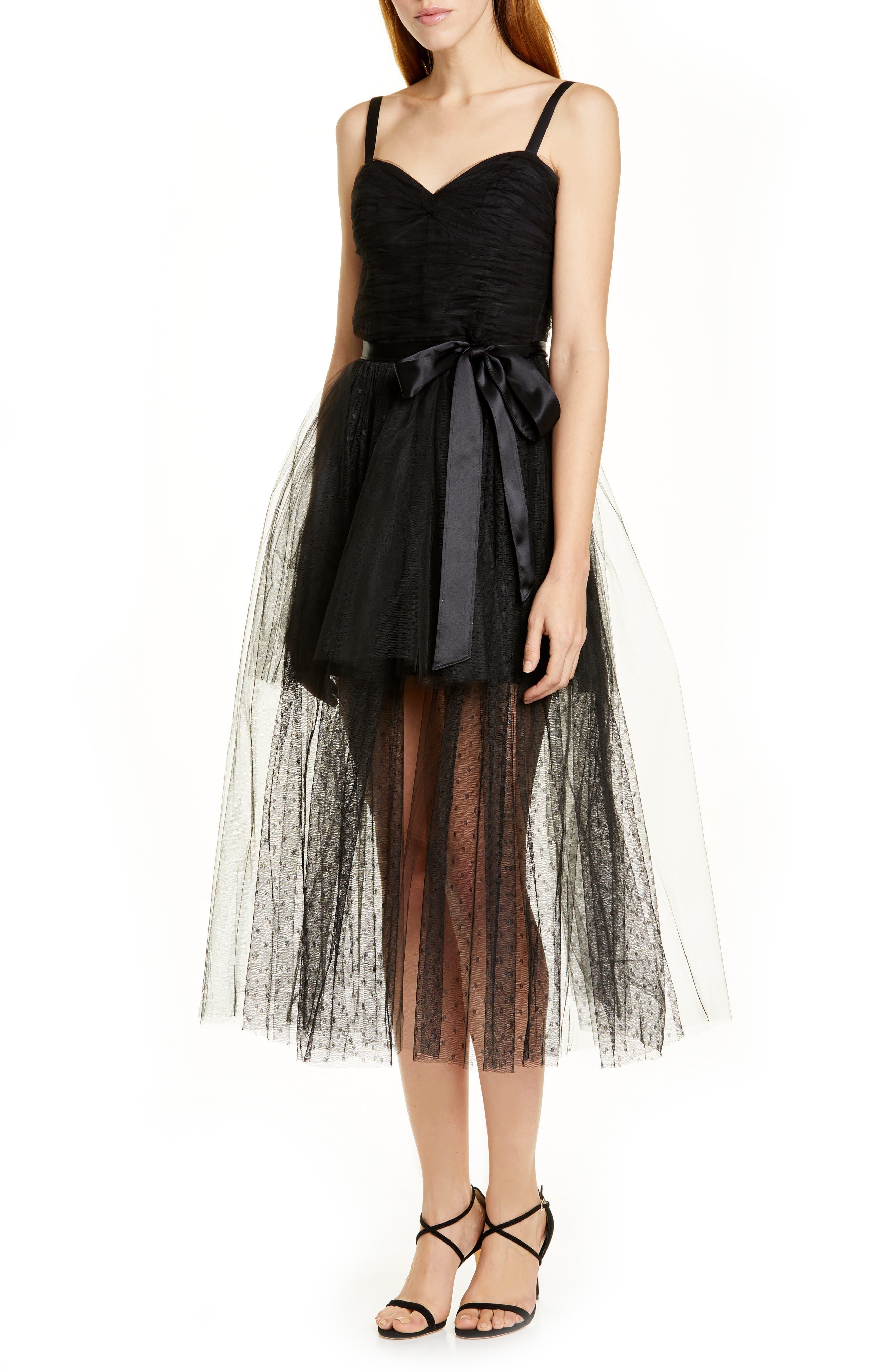 Cinq A Sept Madelyn Tulle Midi Dress, Black