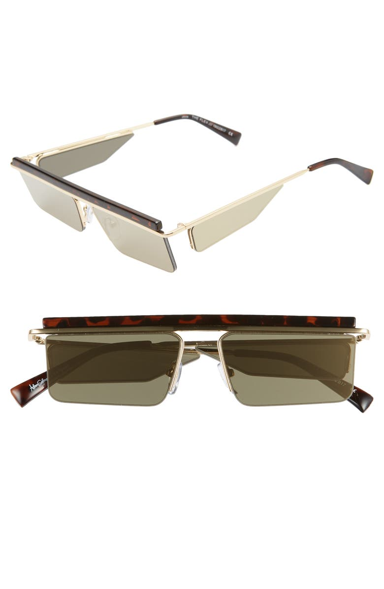 ADAM SELMAN X LE SPECS LUXE The Flex 55mm Semi Rimless Sunglasses, Main, color, LEOPARD/ GOLD