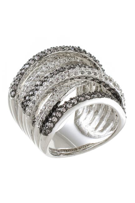 Image of CZ By Kenneth Jay Lane Two-Tone Multi-Band CZ Pave Ring