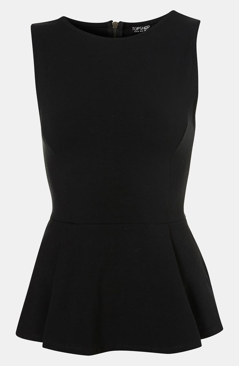 TOPSHOP Peplum Tank, Main, color, 001