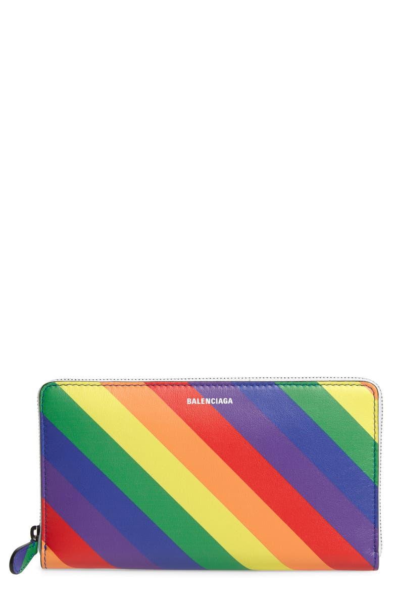 BALENCIAGA LGBTQIA+ Pride Rainbow Leather Continental Wallet, Main, color, BLACK MULTI
