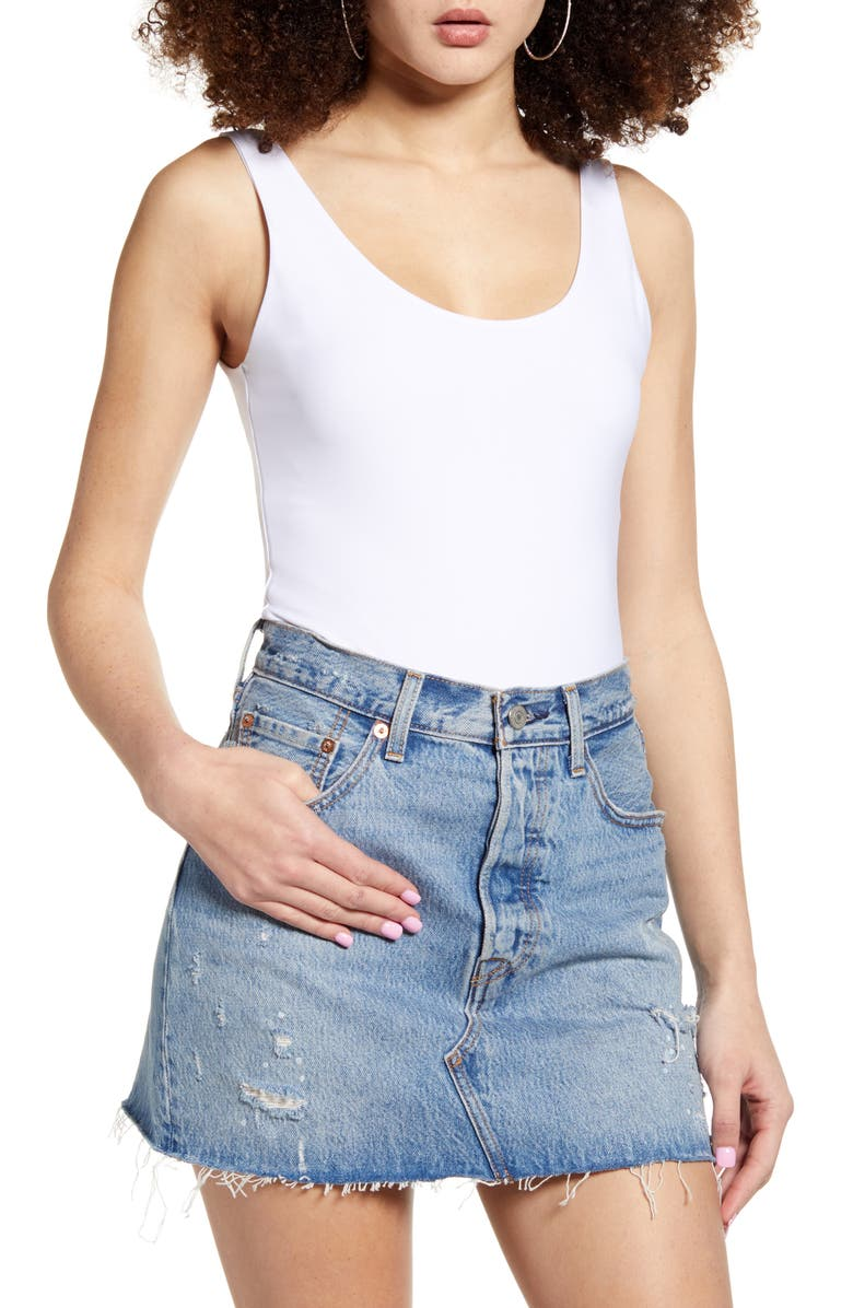 LEITH Sleeveless Bodysuit, Main, color, WHITE
