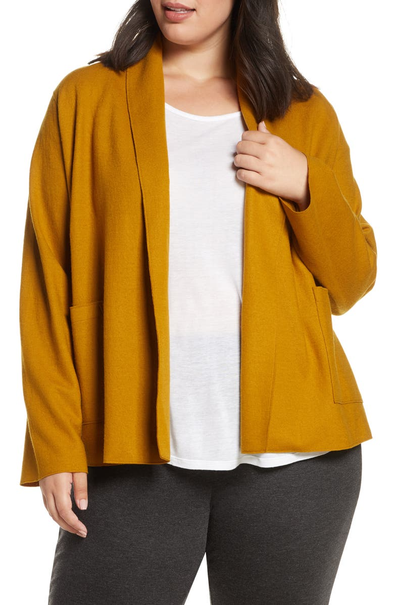 EILEEN FISHER Shawl Collar Short Wool Jacket, Main, color, ARNICA