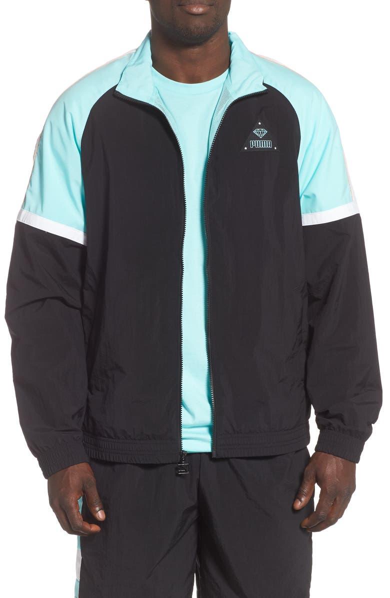PUMA x DIAMOND Nylon Track Jacket, Main, color, PUMA BLACK