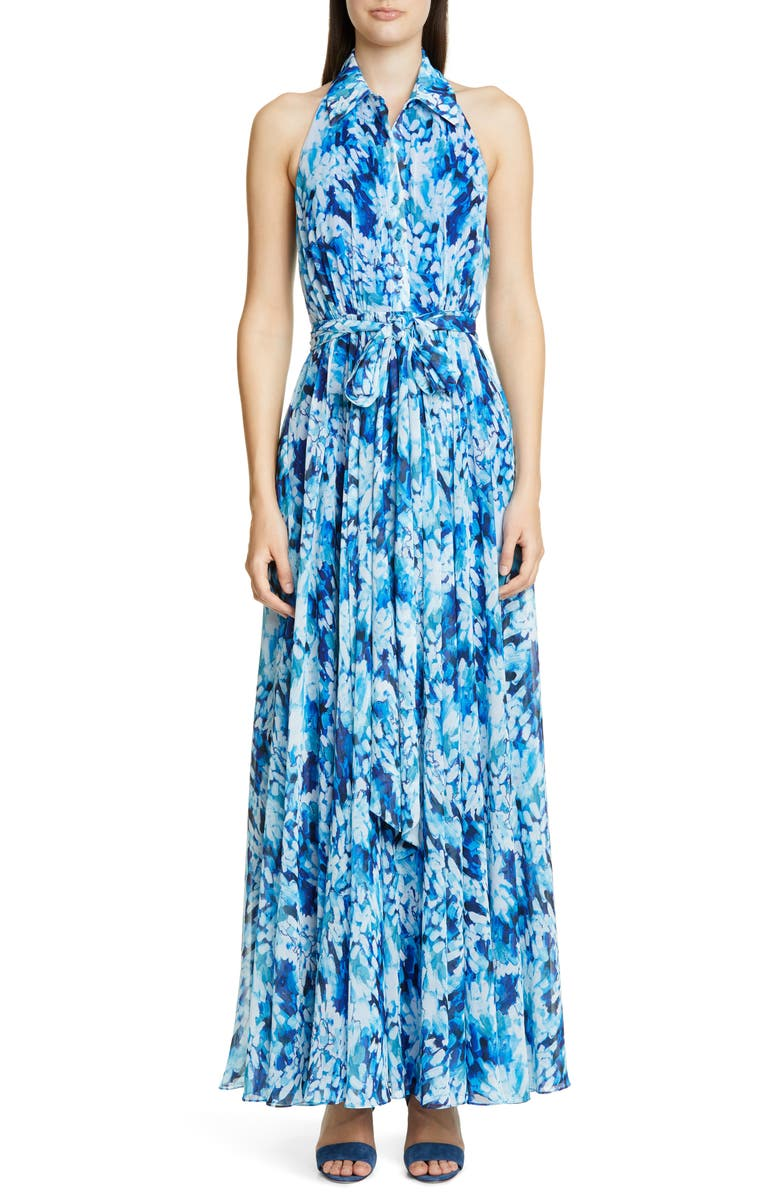 BADGLEY MISCHKA COLLECTION Brushstroke Print Shirtdress Gown, Main, color, WHITE MULTI