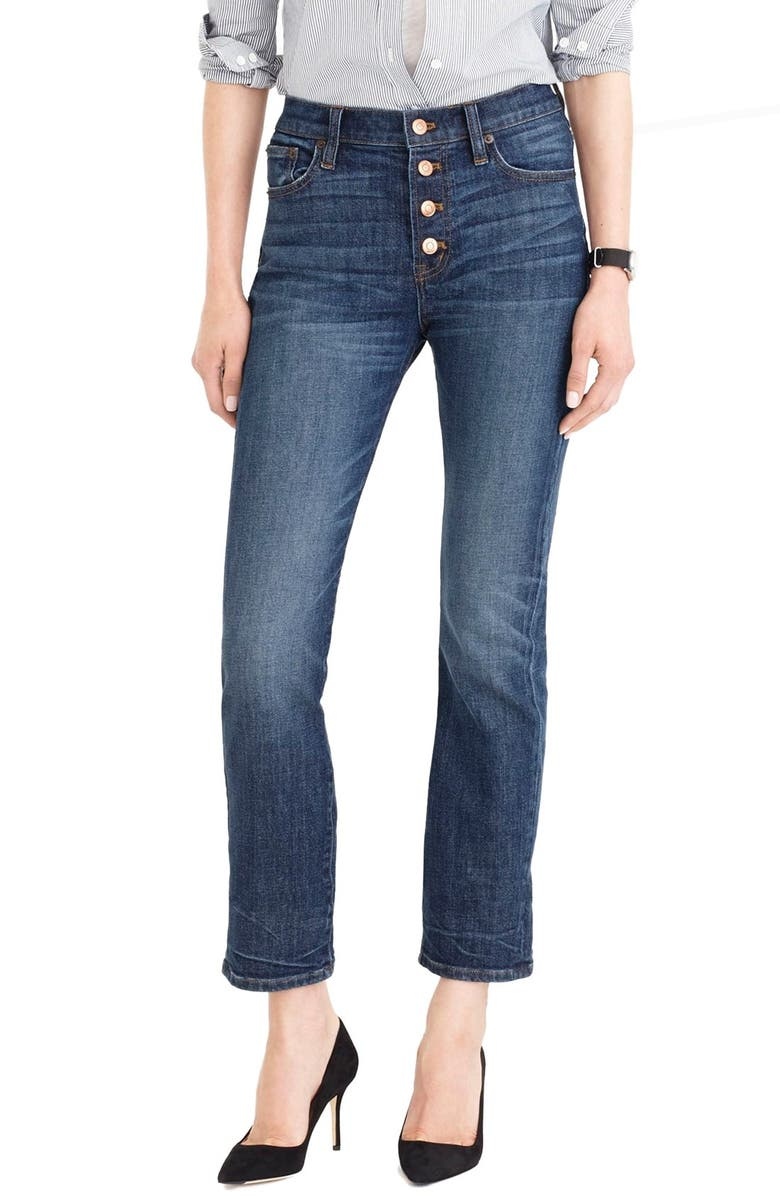 J.CREW 'Straight Away' Stretch High Rise Crop Jeans, Main, color, 400
